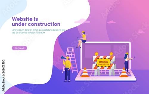 Obraz Website is under construction vector illustration concept, developer fixing website, sytem update server can use for, landing page, template, ui, web, mobile app, poster, banner, flyer - fototapety do salonu