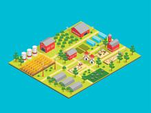 Farm Rural Concept 3d Isometric View. Vector