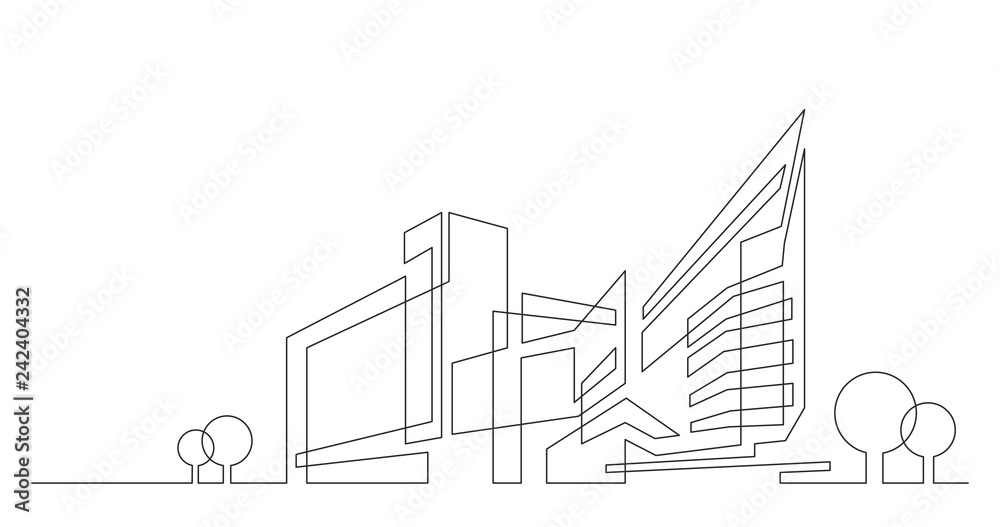 Fototapeta abstract architecture city skyline with trees - single line vector graphics on white background