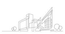 Abstract Architecture City Skyline With Trees - Single Line Vector Graphics On White Background