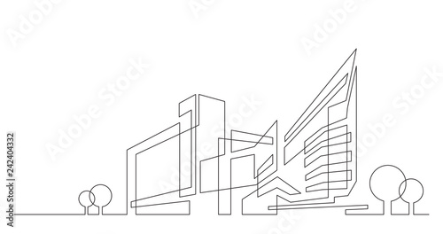 abstract architecture city skyline with trees - single line vector graphics on white background - 242404332