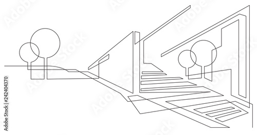 Obraz abstract futuristic city landscape with trees and buildings - single line vector graphics on white background - fototapety do salonu