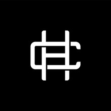 Initial Letter C And H, CH, HC, Overlapping Interlock Monogram Logo, White Color On Black Background