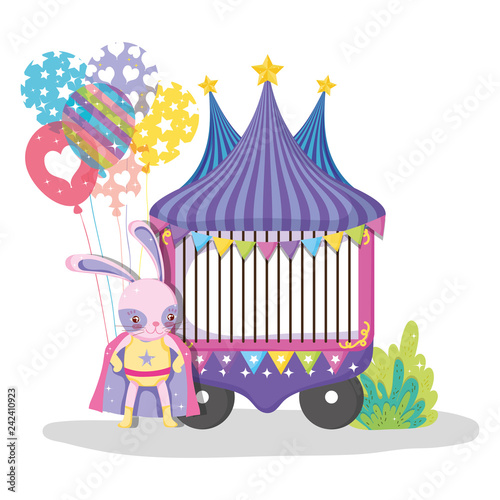Poster Castle circus car with rabbit hero costume and balloons