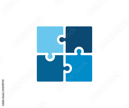 Trendy flat corporate blue puzzle icon. Vector illustration of four puzzle matching pieces for concepts of games, toys, business and start up strategies and solutions Wall mural