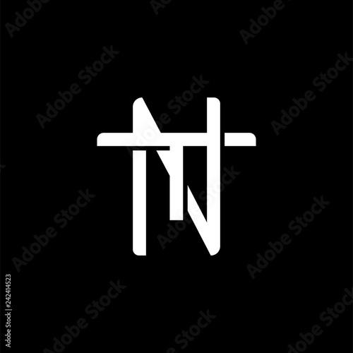 Fotografie, Obraz Initial letter T and N, TN, NT, overlapping interlock monogram logo, white color