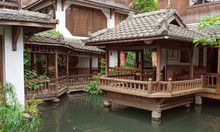 Chinese Tea House And Water Garden In Taichung, Taiwan 台中の茶藝館