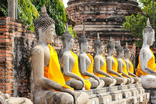 Buddha Statue in Wat Yai Chaimongkol Temple , Ayutthaya , Thailand Canvas Print
