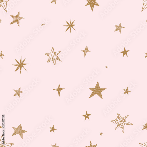 obraz lub plakat Cute gold stars. Seamless vector pattern. Seamless pattern can be used for wallpaper, pattern fills, web page background, surface textures.
