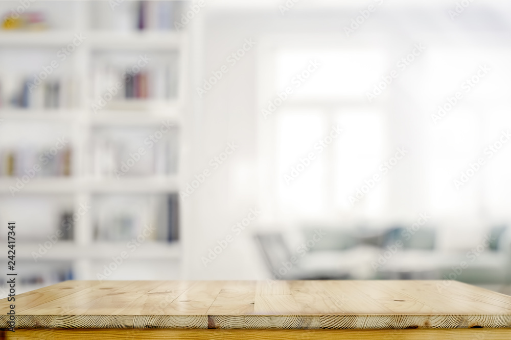 Fototapety, obrazy: Empty wooden desk table in living room background