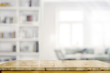 Leinwanddruck Bild - Empty wooden desk table in living room background