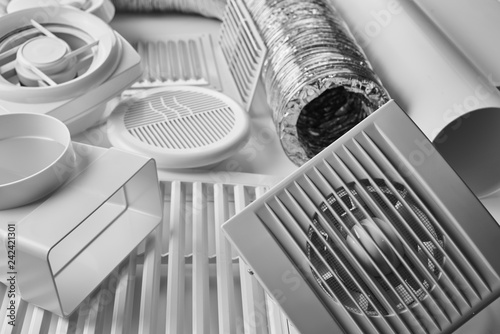 Valokuva  ventilation system components on white background side view