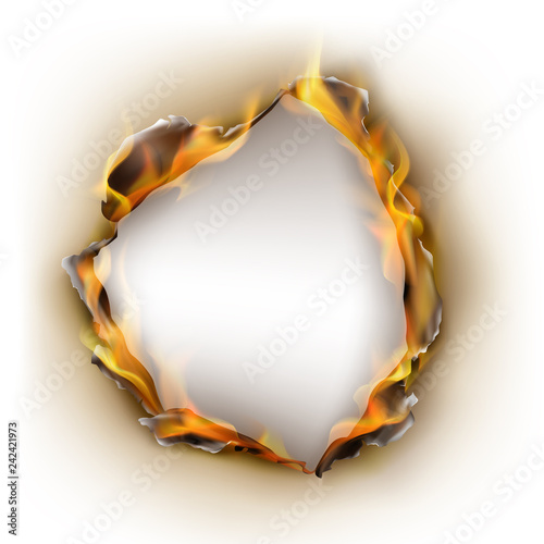 Foto Vector realistic burnt paper, kindled circle hole with cracked edges