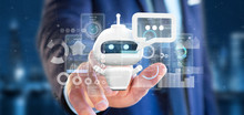 Businessman Holding Chatbot With Binary Code, Message And Data 3d Rendering