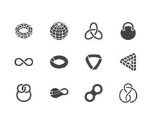 Geometric Shapes Flat Glyph Icons Set. Topology Figures Sphere, Torus, Mobius Strip, Klein Bottle Vector Illustrations. Signs For Education, Impossible Object. Solid Silhouette Pixel Perfect 64x64