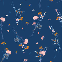 Beautiful Sweet Wild Flower Pattern Botanical Motifs Scattered Random. Seamless Vector Texture. For Fashion Prints. Printing With In Hand Drawn Style