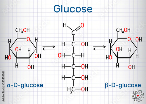 Glucose (dextrose, D-glucose) molecule Wallpaper Mural