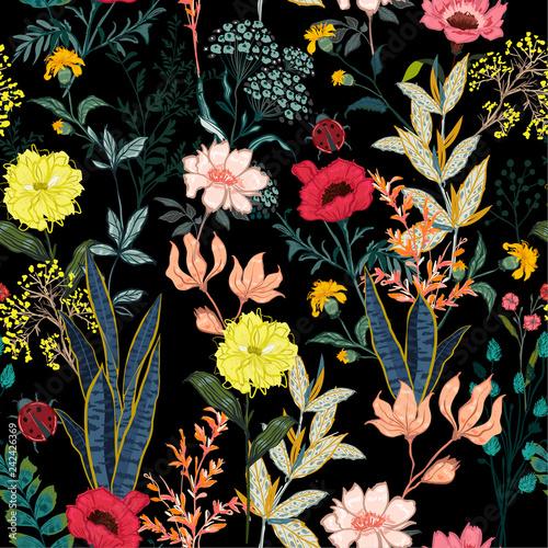 ogrod-w-nocy-pelen-kwitnacych-kwiatow-w-wielu-rodzajach-kwiatow-sezonowych-bez-szwu-wektor-wzor-styl-rysowania-dloni-dla-mody-tkaniny-i-wszystkie-wydruki