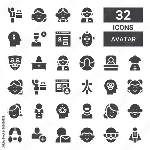 avatar icon set Canvas Print