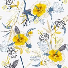 Trendy Bright Artistic Tropical Fresh Yellow Flower Pattern On Sketch Line Dash Seamless Pattern Vector