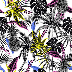 Panel Szklany Podświetlane Egzotyczne Summer contrast colorful tropical forest leaves and tress hand drawn style seamless pattern vector for fashion fabric , wallpaper, and all prints