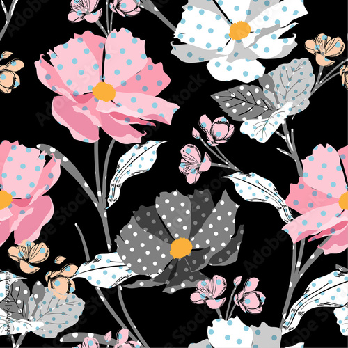 Fototapety, obrazy: Beautiful Meadow and wild flowers made with polka dots fill-in seamless vector pattern modern style for fashion,fabric,wallpaper, and all prints