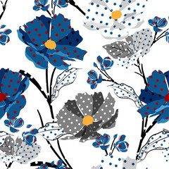 Panel Szklany Podświetlane Do pokoju dziewczyny Trendy Meadow and wild flowers made with polka dots fill-in seamless vector pattern modern style for fashion,fabric,wallpaper,