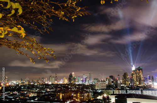 Glittering lighting, skyscrapers, downtown Bangkok, cityscape, Thailand