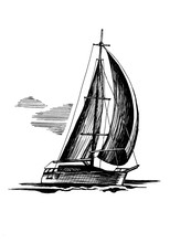 Single-masted Sailboat  Sketch...