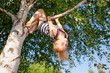 Leinwanddruck Bild - Happy girl hanging from a tree in a summer park