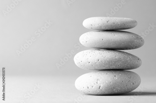 Ingelijste posters Zen Stack of grey massage stones