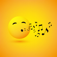 Singing Or Whistling Emoticon,...