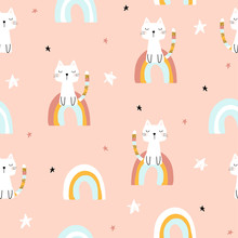 Childish Seamless Pattern With Magic Cat And Rainbows. Vector Hand Drawn Illustration.