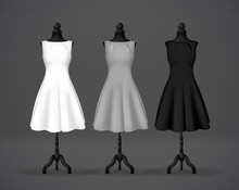 Women's Black, Gray And White Basic Dress Mockup On Mannequin. Festive Dress Without Sleeves And Long Pleated Skirt.