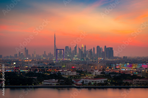In de dag Bangkok Beautiful skyline of Dubai city at night in United Arab Emirates
