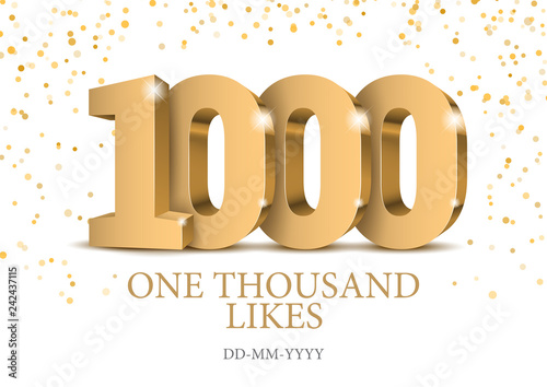 Fotografiet Anniversary or event 1000. gold 3d numbers.