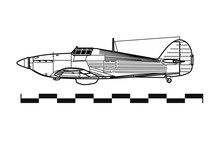 Hawker HURRICANE. Outline Drawing