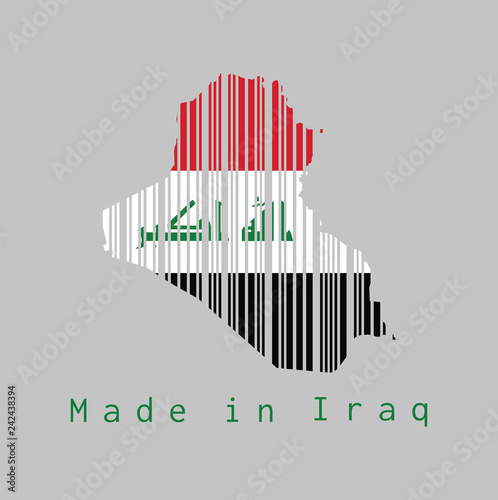Barcode set the shape to Iraq map outline and the color of Iraq flag