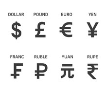 Set Of The Most Popular Currency Symbol
