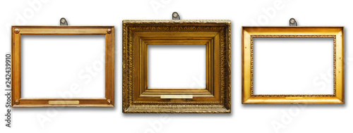 Fotografía  Set of three vintage golden baroque wooden frames on  isolated background
