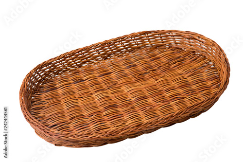 Fotografía  Wicker brown basket isolated on white background