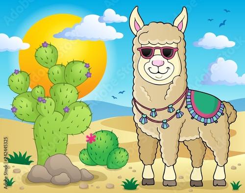 Keuken foto achterwand Voor kinderen Llama with sunglasses theme image 2