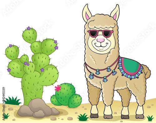 Keuken foto achterwand Voor kinderen Llama with sunglasses theme image 3