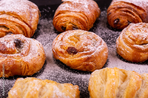 Fotografie, Obraz  A snail with raisin in icing sugar