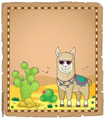 Keuken foto achterwand Voor kinderen Llama with sunglasses theme parchment 1