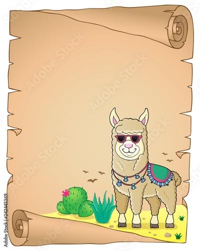 Keuken foto achterwand Voor kinderen Llama with sunglasses theme parchment 2