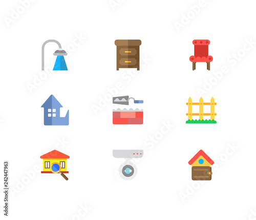 Building icons set  Inspection and building icons with shower