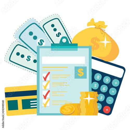 Year-end tax adjustment Vector flat illustration  Financial