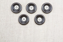 Large Sewing Buttons Brown Color With A Small White Linen, Light Natural Fabric