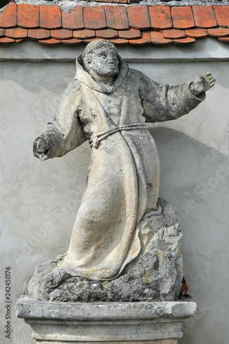 Statue of Saint Onuphrius in front of Capuchin Monastery in Olesko, Ukraine Canvas Print